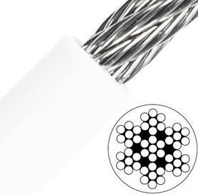 7x7 Staalkabel 6/9mm RVS-A4/PVC wit per meter