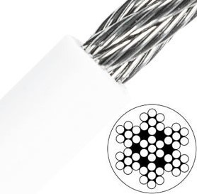 7x7 Staalkabel 6/9mm RVS-A4/PVC wit rol a 250 mtr.