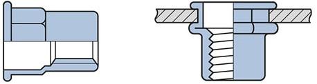 Q-Blindmoer Staal open full hex.CK M6 - [0.5-3.0mm] (250 st.)