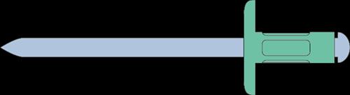Q-Multigrip popnagel Alu/Staal XL 3.2 X 8.0X 9.5 (0.8-4.8mm)