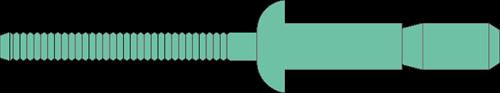 Q-P-Power popnagel Alu/Alu  BK 6.4 X14.0 - [2.0-9.5mm] (250 st.)