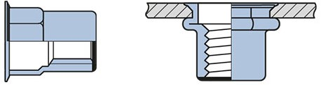 Q-Blindmoer Staal gesloten semi-hex KVK M6 - [0.5-3.0mm] (250 st.)