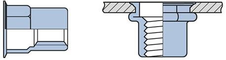 Q-Blindmoer Staal open semi-hex.KVK M6 - (0.5-3.0mm)