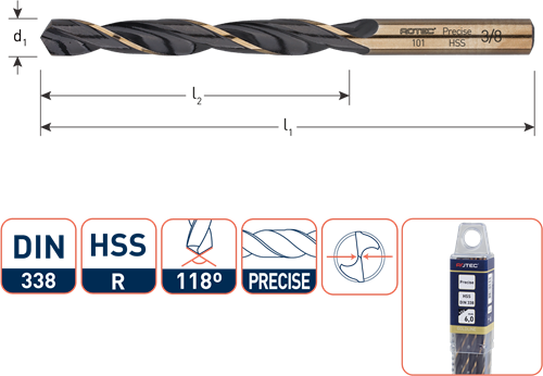 HSS-R spiraalboor, DIN 338, type Precise, ø1/8''