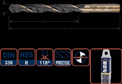 HSS-R spiraalboor, DIN 338, type Precise, ø9/64''