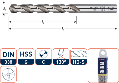 HSS-G spiraalboor, DIN 338, type HD-S, ø0,8