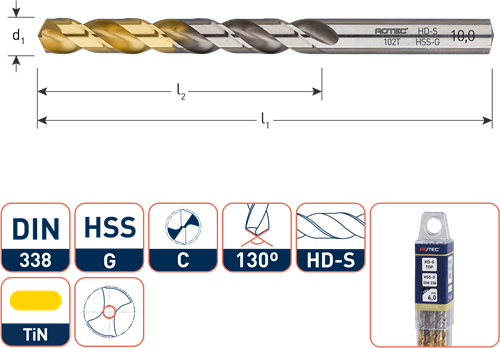HSS-G spiraalboor, DIN 338, type HD-S, TiN-top, ø2,1
