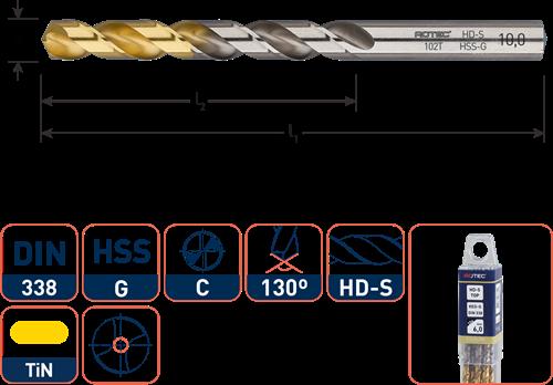HSS-G spiraalboor, DIN 338, type HD-S, TiN-top, ø2,2
