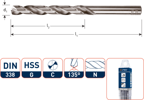 HSS-G spiraalboor, DIN 338, type N, ø2,2