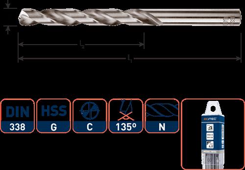 HSS-G spiraalboor, DIN 338, type N, ø5,1