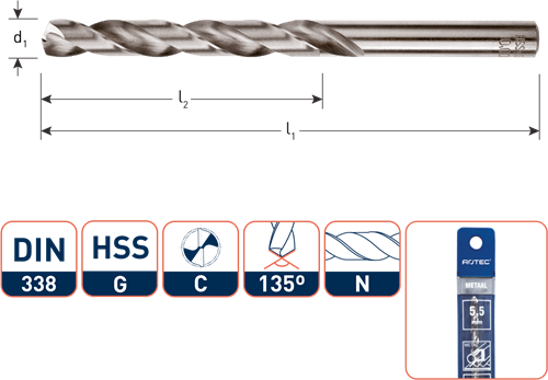 HSS-G spiraalboor, DIN 338, type N, ø 1,0 / in etui (vpe 2)