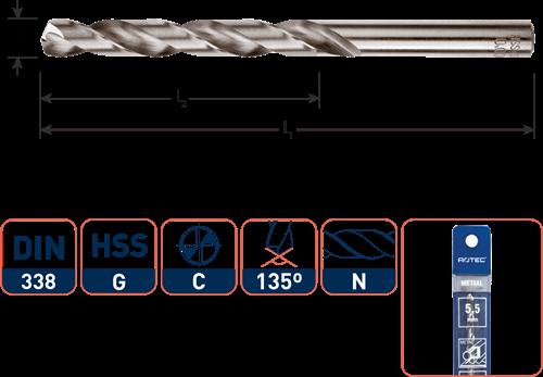 HSS-G spiraalboor, DIN 338, type N, ø 2,5 / in etui (vpe 2)