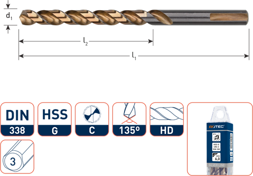 HSS-G spiraalboor, DIN 338, type UNI-3, ø2,0