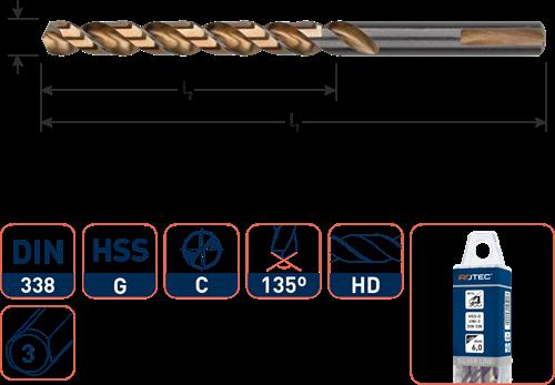 HSS-G spiraalboor, DIN 338, type UNI-3, ø3,5
