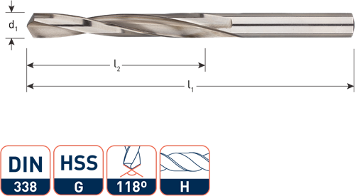 HSS-G spiraalboor, DIN 338, type H (messing), ø3,1