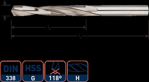 HSS-G spiraalboor, DIN 338, type H (messing), ø3,5