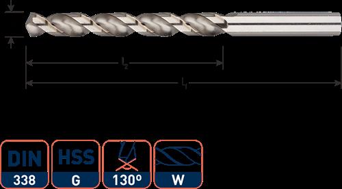 HSS-G spiraalboor, DIN 338, type W (aluminium), ø2,0