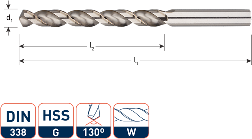 HSS-G spiraalboor, DIN 338, type W (aluminium), ø2,5