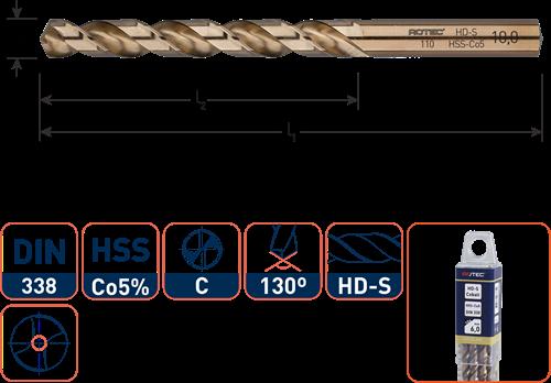 HSS-E spiraalboor, DIN 338, type HD-S, ø2,2