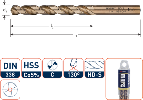 HSS-E spiraalboor, DIN 338, type HD-S, ø2,3