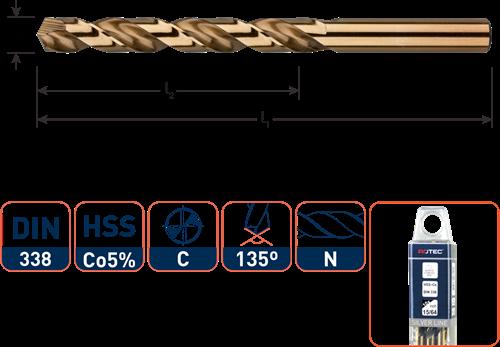 HSS-E spiraalboor, DIN 338, type N, ø1/8''