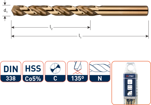 HSS-E spiraalboor, DIN 338, type N, ø2,1