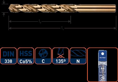 HSS-E spiraalboor, DIN 338, type N, ø2,0 / in etui