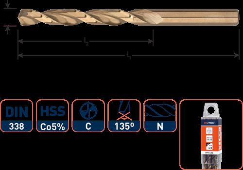 HSS-E spiraalboor, DIN 338, type N, OPTI-LINE, ø2,0