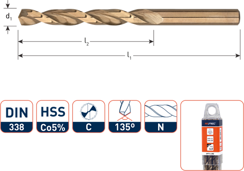HSS-E spiraalboor, DIN 338, type N, OPTI-LINE, ø5,0