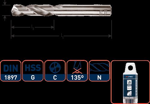 HSS-G plaatwerkboor, DIN 1897, type N, ø2,0