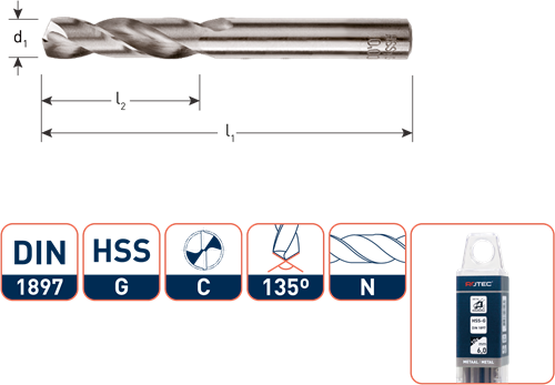 HSS-G plaatwerkboor, DIN 1897, type N, ø3,4