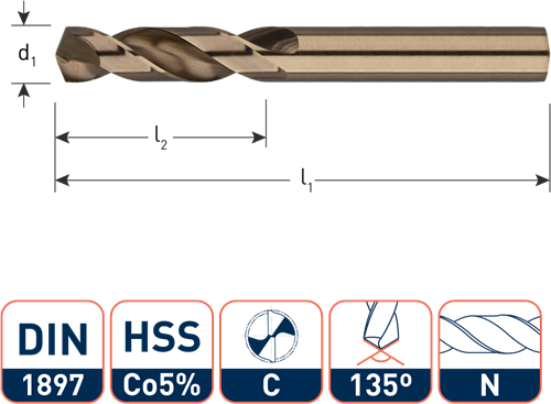 IZAR HSS-E plaatwerkboor, DIN1897, type N, ø3,3