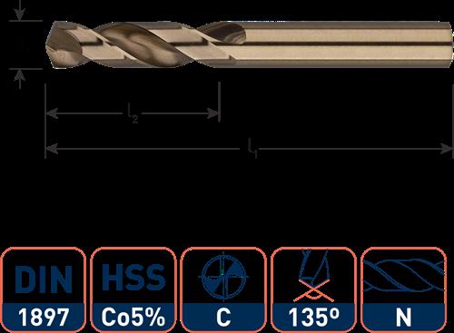 IZAR HSS-E plaatwerkboor, DIN1897, type N, ø5,0