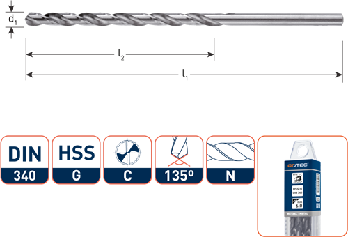 HSS-G spiraalboor, DIN 340, type N, ø1,0