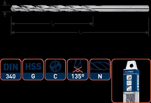 HSS-G spiraalboor, DIN 340, type N, ø5,1