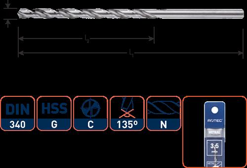 HSS-G spiraalboor, DIN 340, type N, ø2,0 / in etui
