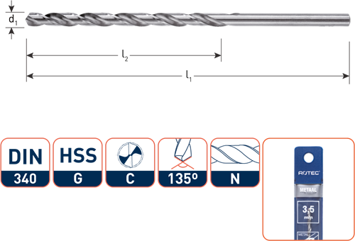 HSS-G spiraalboor, DIN 340, type N, ø3,5 / in etui