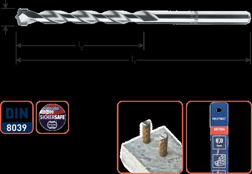 Super-betonboor ø3x40/70