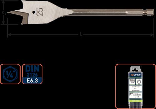 Speedboor, 1/4'' bit-aansluiting, ø16x152