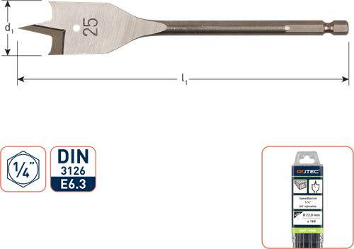 Speedboor, 1/4'' bit-aansluiting, ø6x152