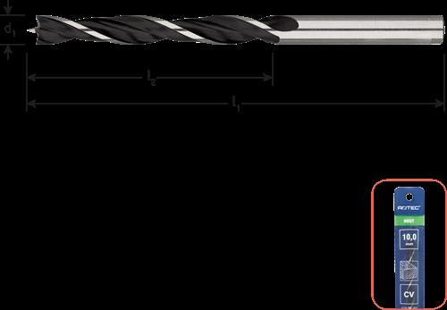 Machinale houtspiraalboor ø4x43x75