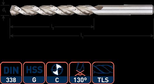 HSS Houtspiraalboor DIN338 TLS ø3,0x33x61 (vpe 10)