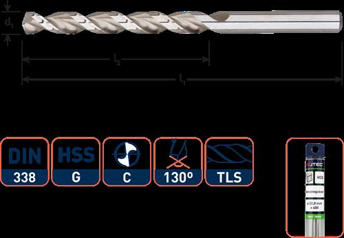 HSS Houtspiraalboor DIN338 TLS ø3,5x39x70  / in etui