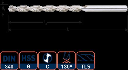 HSS Houtspiraalboor DIN340 TLS ø3,0x66x100 (vpe 5)
