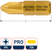 PRO Insertbit PH 1 L=25mm C 6,3 TIN
