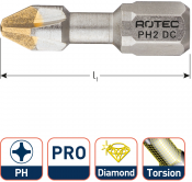 PRO Torsionbit PH 1, L=25, C6.3, DIAMOND (10 stuks)