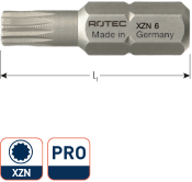 PRO Schroefbit XZN M4 L= 25, C6.3, BASIC (10 stuks)