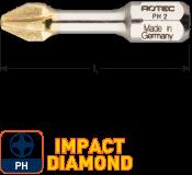 IMPACT Schroefbit PH 2, L=30, C6.3, DIAMOND (10 stuks)