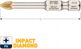 IMPACT Schroefbit PH 1, L=50, E6.3, DIAMOND (5 stuks)