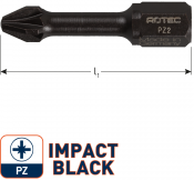 IMPACT Schroefbit PZ 2, L=30, C6.3, BASIC (10 stuks)
